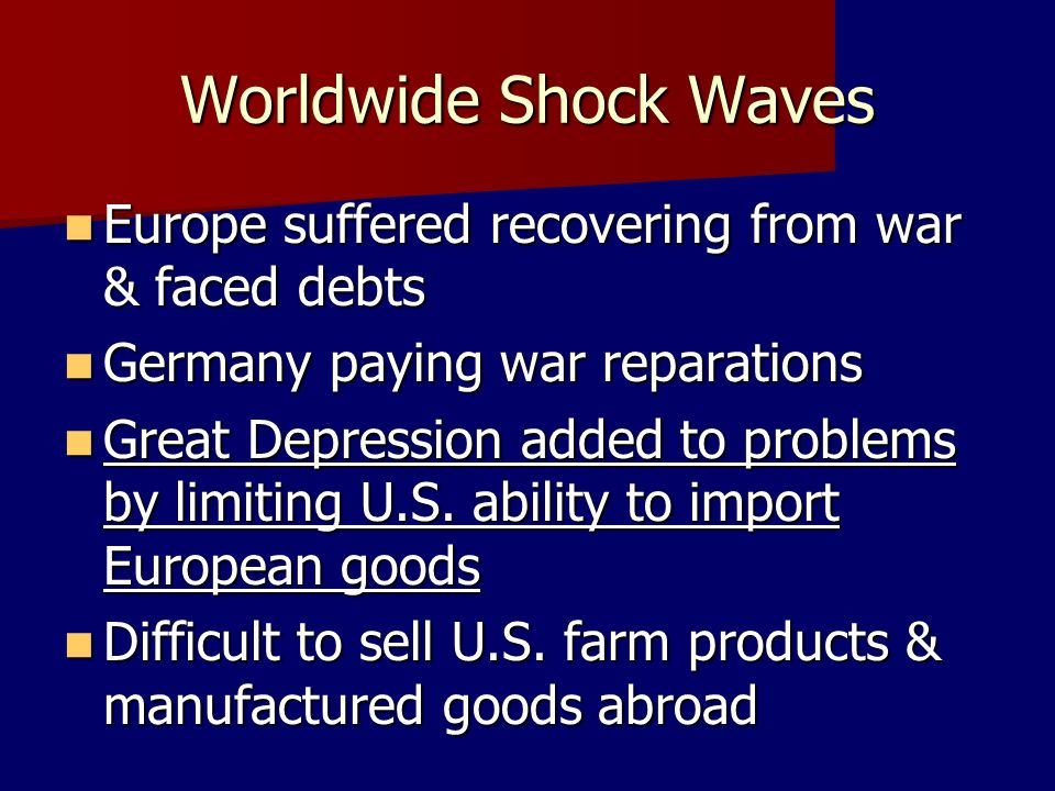 Worldwide Shock Waves Europe suffered recovering from war & faced debts. Germany paying war reparations.