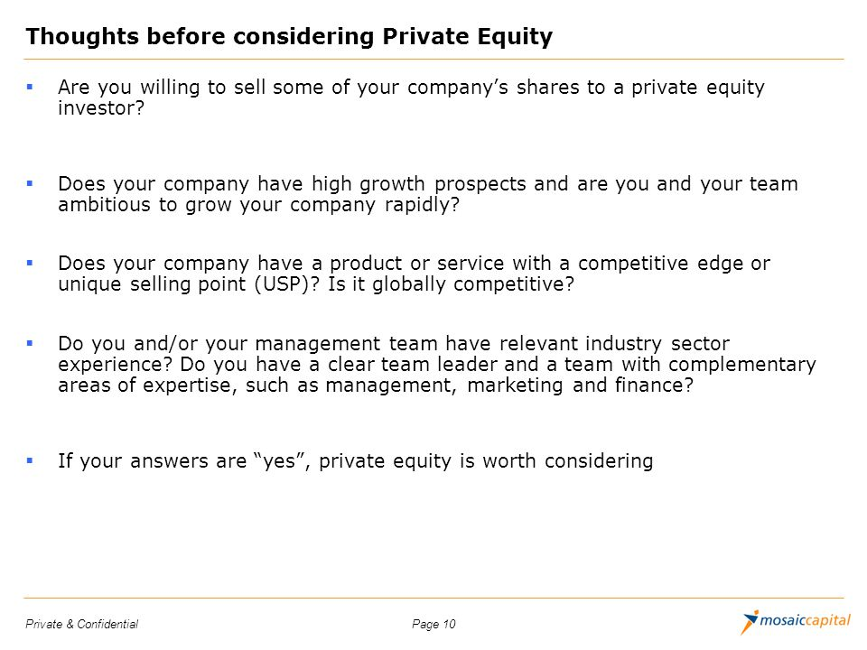 Thoughts before considering Private Equity