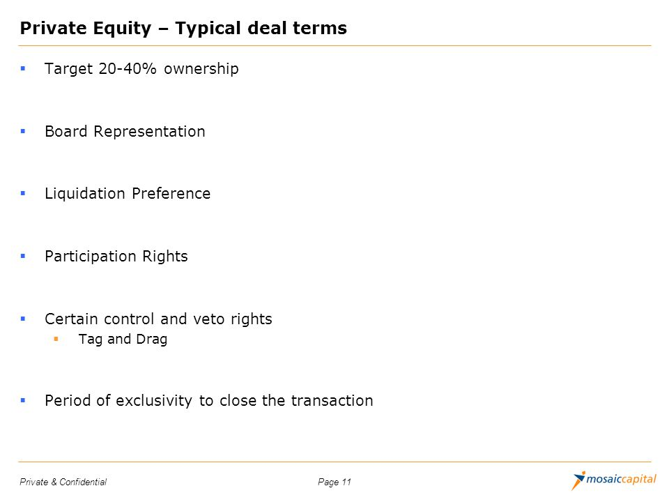 Private Equity – Typical deal terms