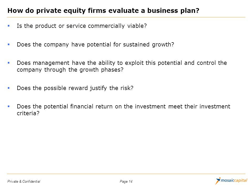 How do private equity firms evaluate a business plan