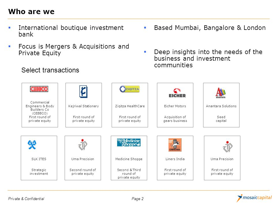 Who are we Select transactions International boutique investment bank