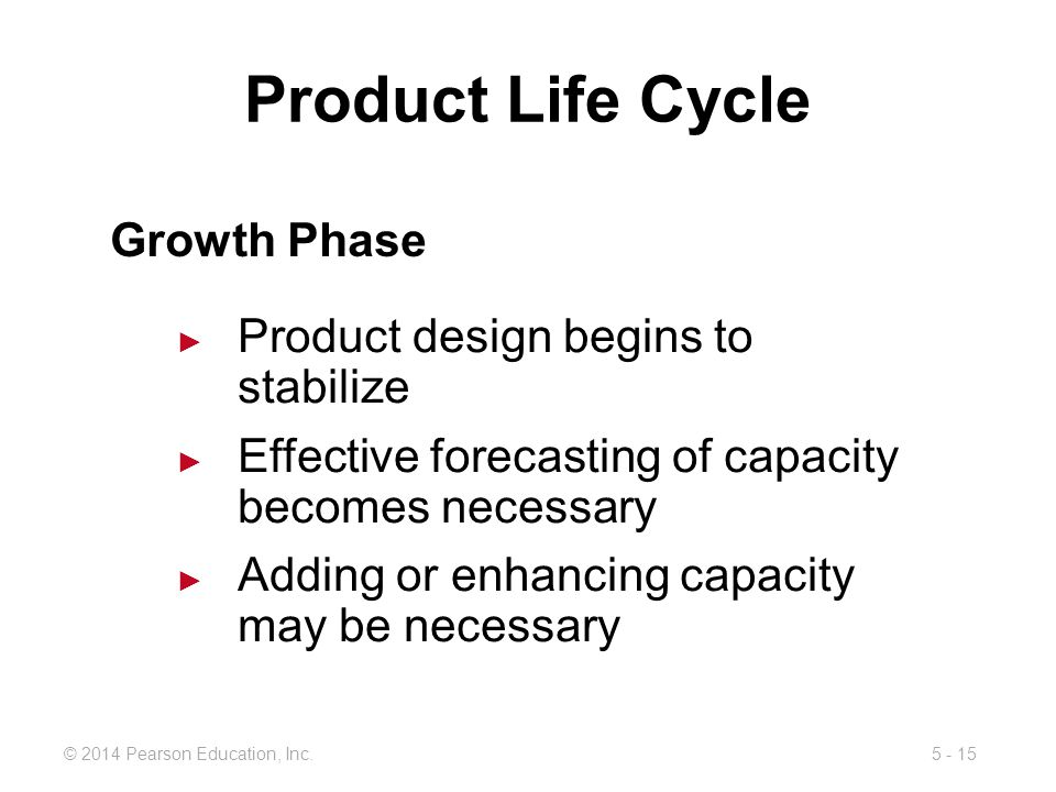 Product Life Cycle Growth Phase Product design begins to stabilize