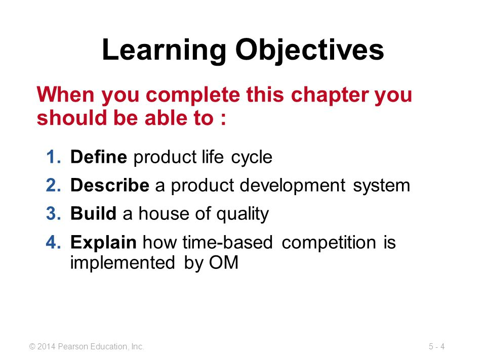 Learning Objectives When you complete this chapter you should be able to : Define product life cycle.