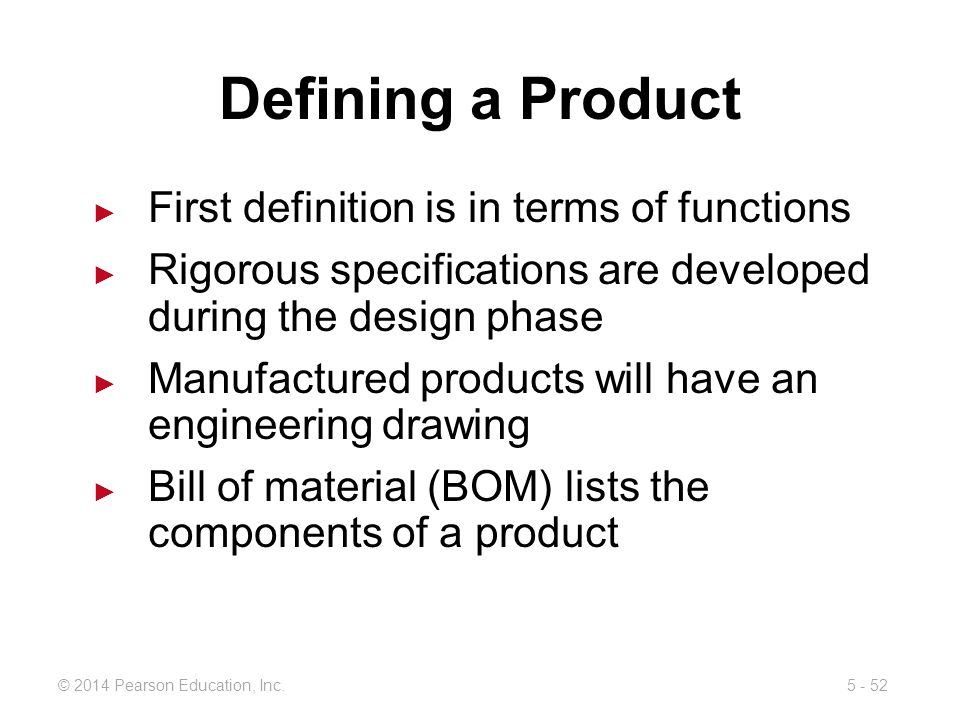 Defining a Product First definition is in terms of functions