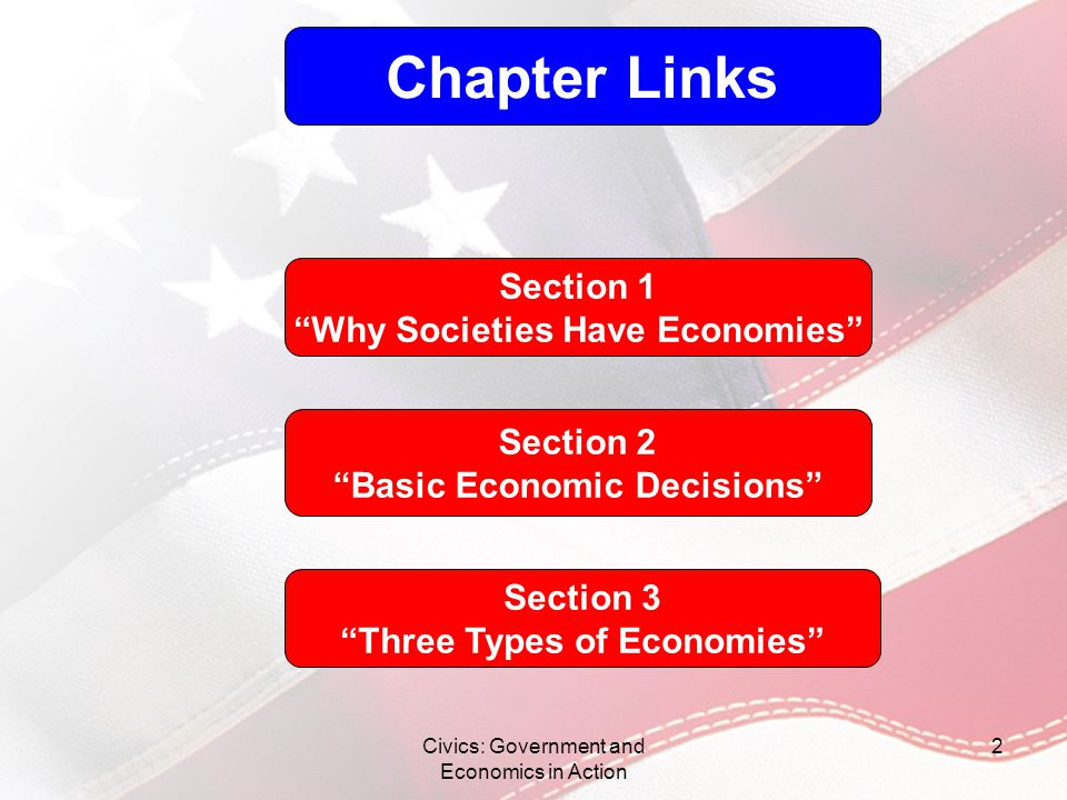 Chapter Links Section 1 Why Societies Have Economies Section 2