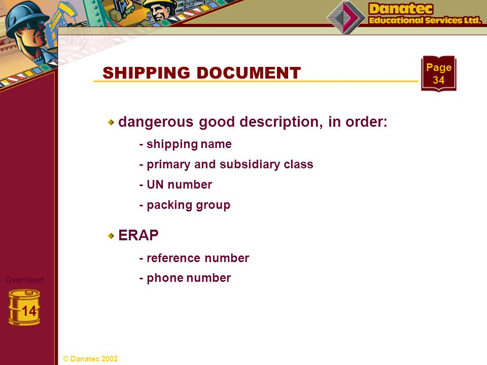 SHIPPING DOCUMENT dangerous good description, in order: ERAP 14