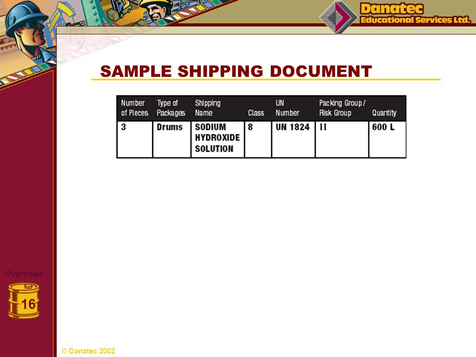 SAMPLE SHIPPING DOCUMENT