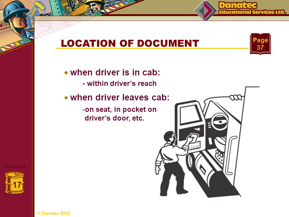 LOCATION OF DOCUMENT when driver is in cab: when driver leaves cab: 17