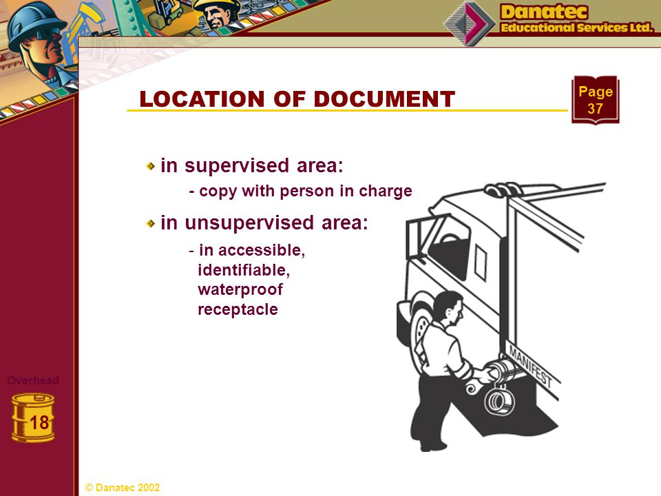 LOCATION OF DOCUMENT in supervised area: in unsupervised area: 18