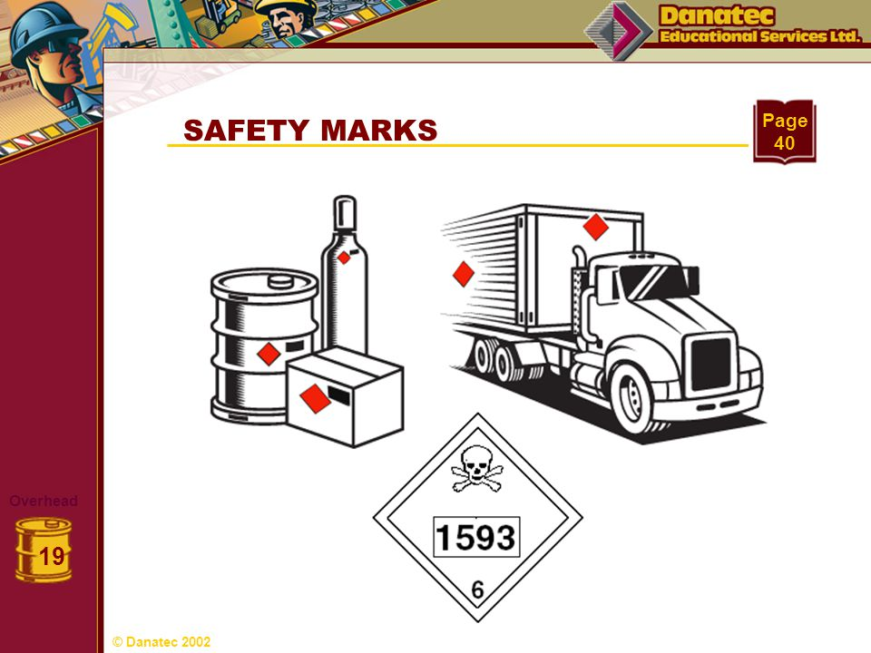 Page 40 SAFETY MARKS Overhead 19 © Danatec 2002