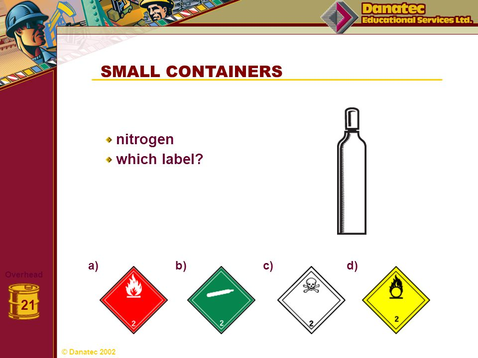 SMALL CONTAINERS nitrogen which label 21 a) b) c) d) Overhead