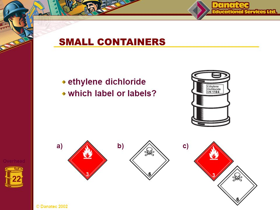SMALL CONTAINERS ethylene dichloride which label or labels 22 c) a)