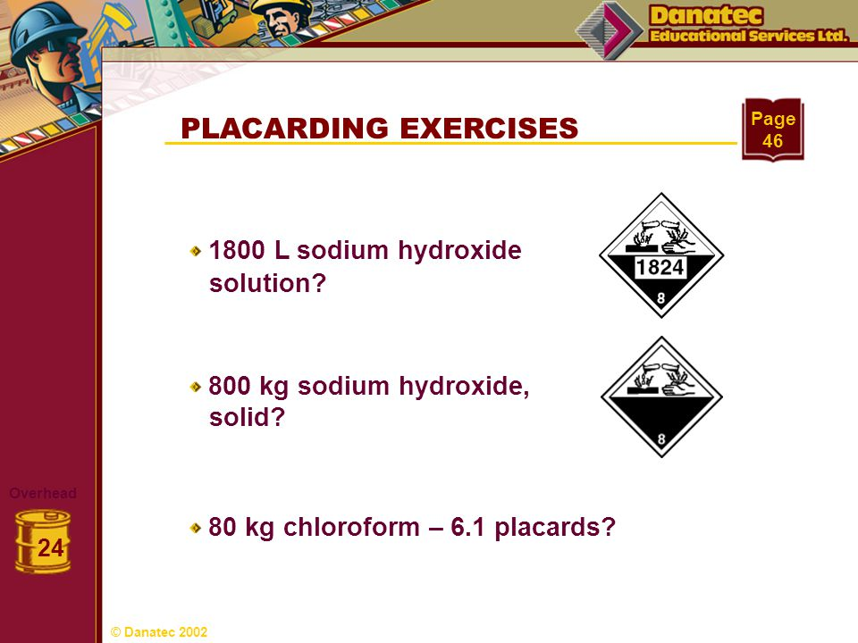 PLACARDING EXERCISES solution solid 1800 L sodium hydroxide