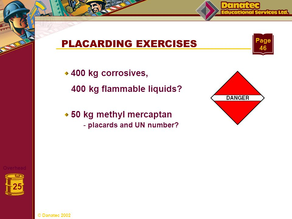 PLACARDING EXERCISES 400 kg flammable liquids 400 kg corrosives,