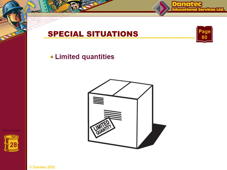 SPECIAL SITUATIONS Limited quantities 28 Page 60 Overhead