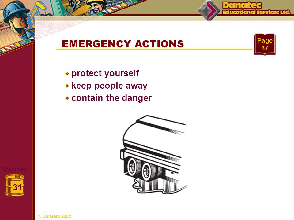 EMERGENCY ACTIONS protect yourself keep people away contain the danger