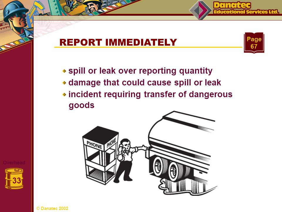 REPORT IMMEDIATELY goods spill or leak over reporting quantity