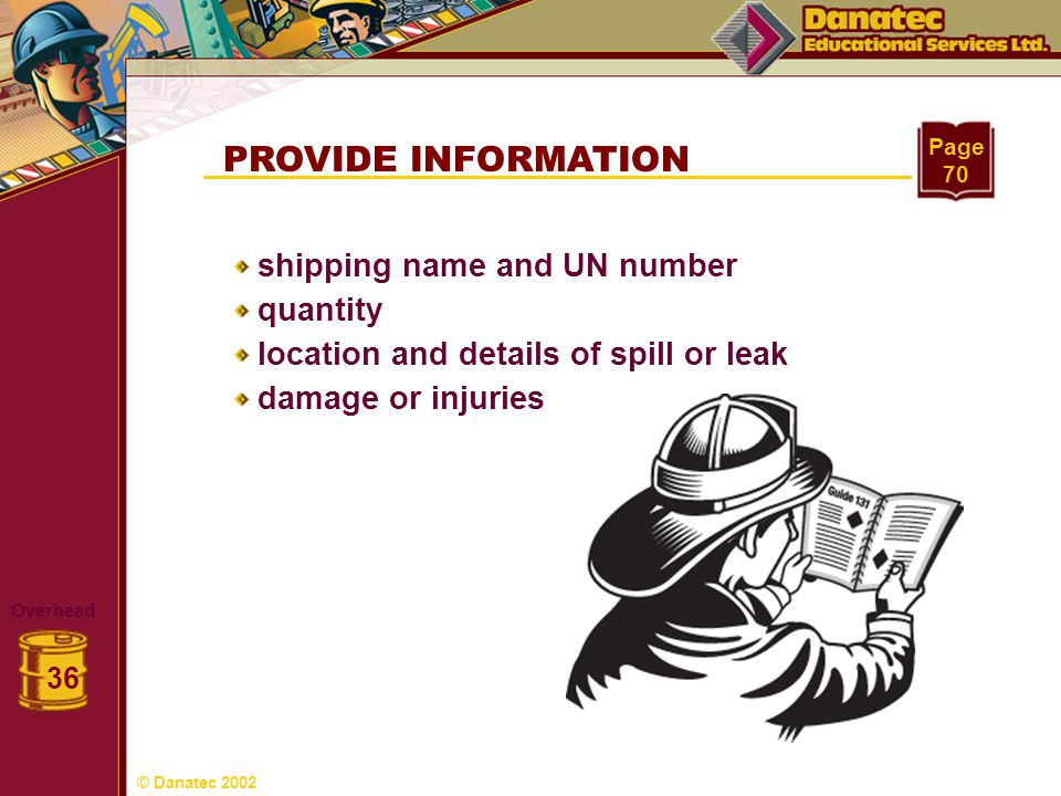 PROVIDE INFORMATION shipping name and UN number quantity