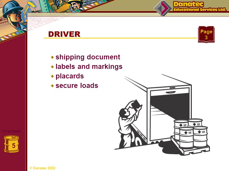 DRIVER shipping document labels and markings placards secure loads 5