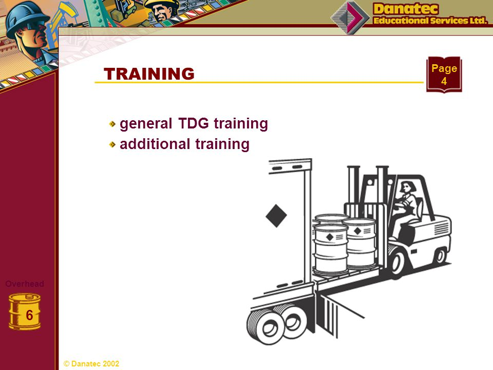 TRAINING general TDG training additional training 6 Page 4 Overhead