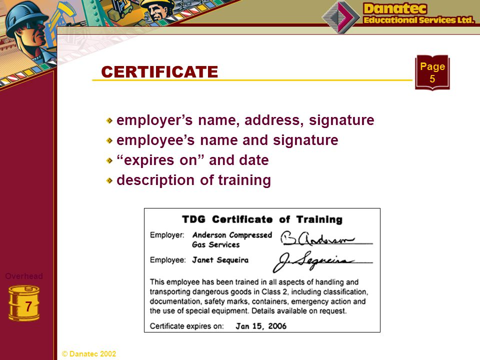 CERTIFICATE employer's name, address, signature