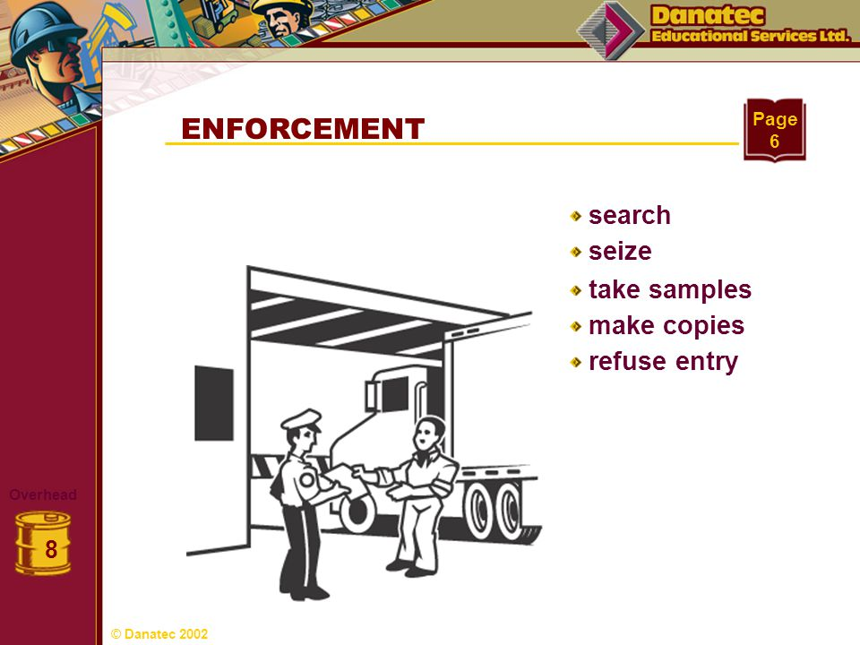 ENFORCEMENT search seize take samples make copies refuse entry 8 Page