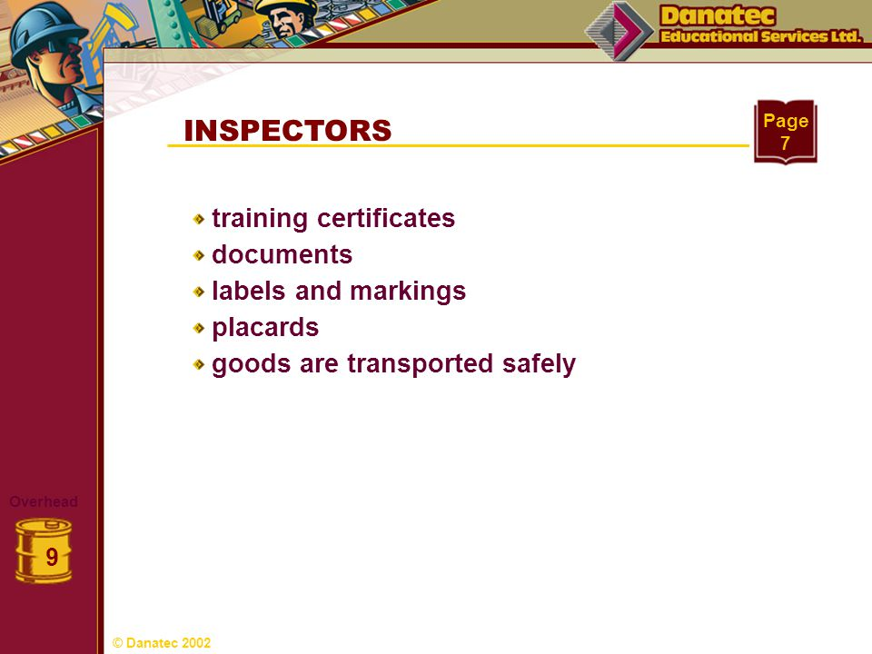 INSPECTORS training certificates documents labels and markings
