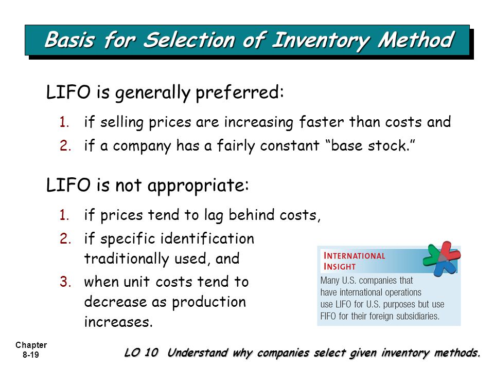 Basis for Selection of Inventory Method