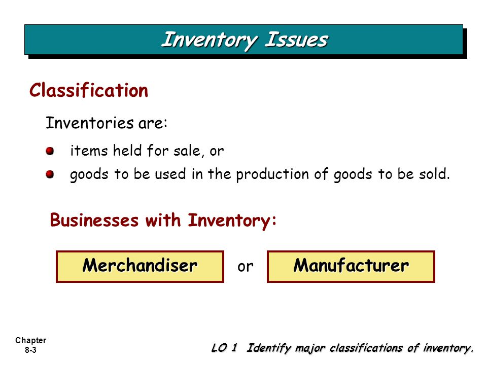 Inventory Issues Classification Businesses with Inventory: