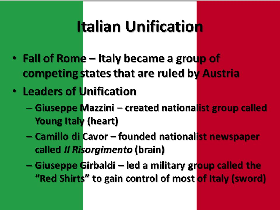 Italian Unification Fall of Rome – Italy became a group of competing states that are ruled by Austria.