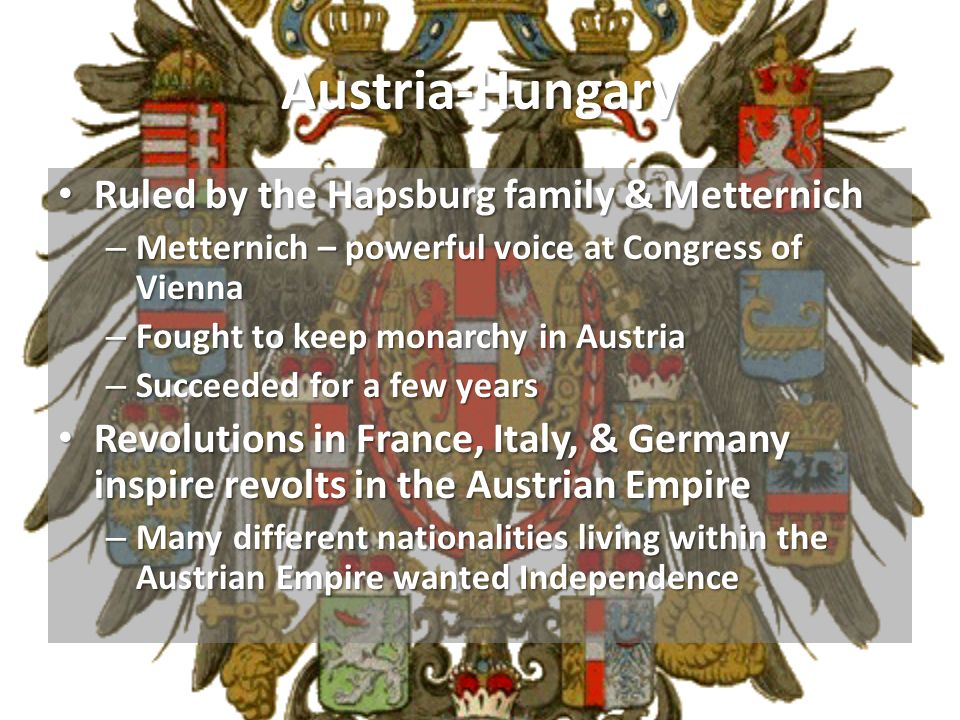 Austria-Hungary Ruled by the Hapsburg family & Metternich