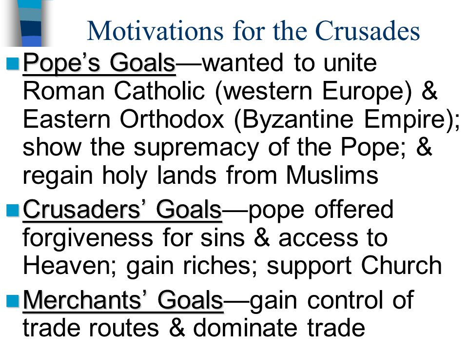 Motivations for the Crusades