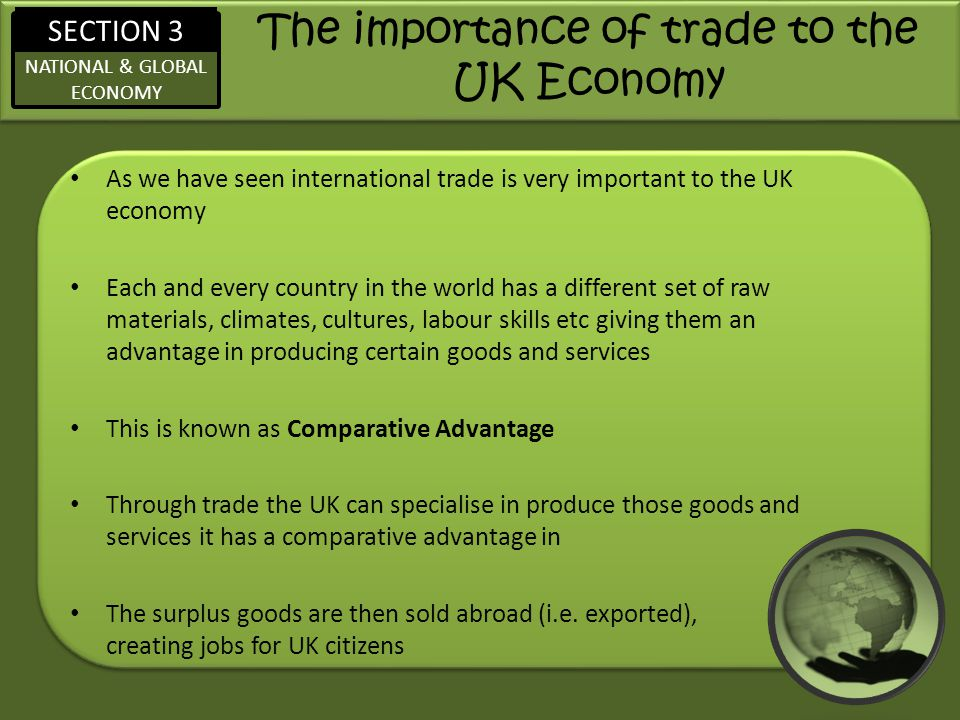 The importance of trade to the UK Economy
