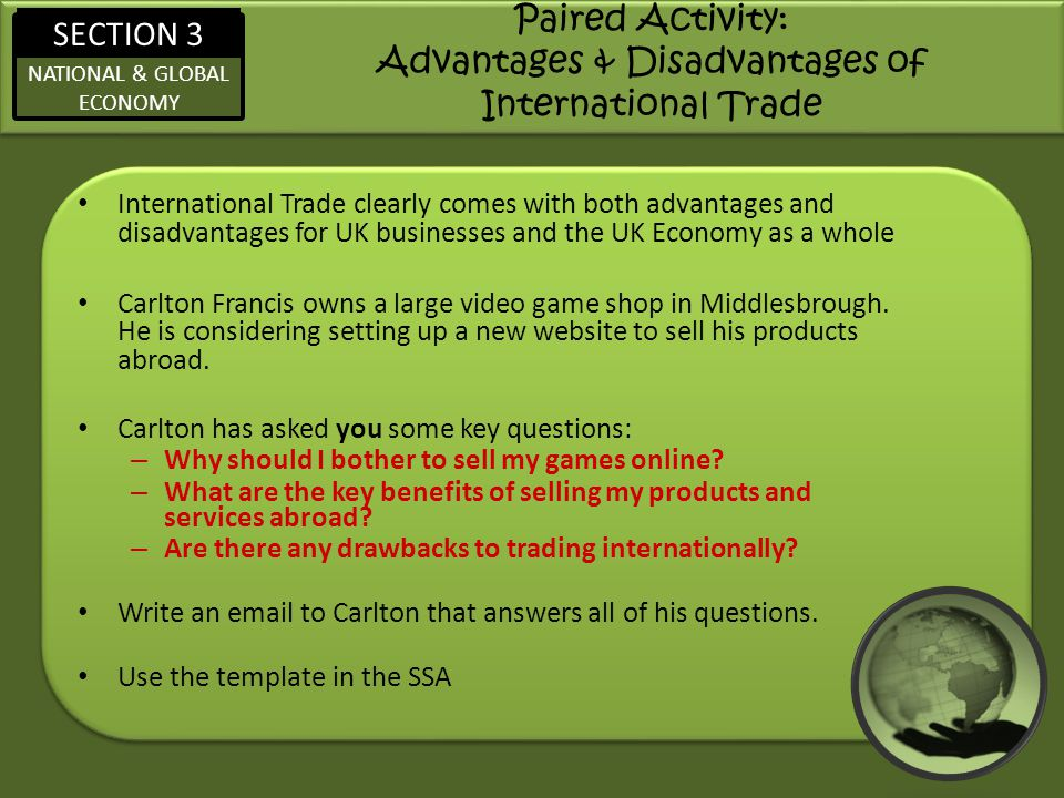 Paired Activity: Advantages & Disadvantages of International Trade