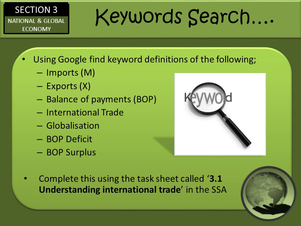 Keywords Search…. Using Google find keyword definitions of the following; Imports (M) Exports (X)