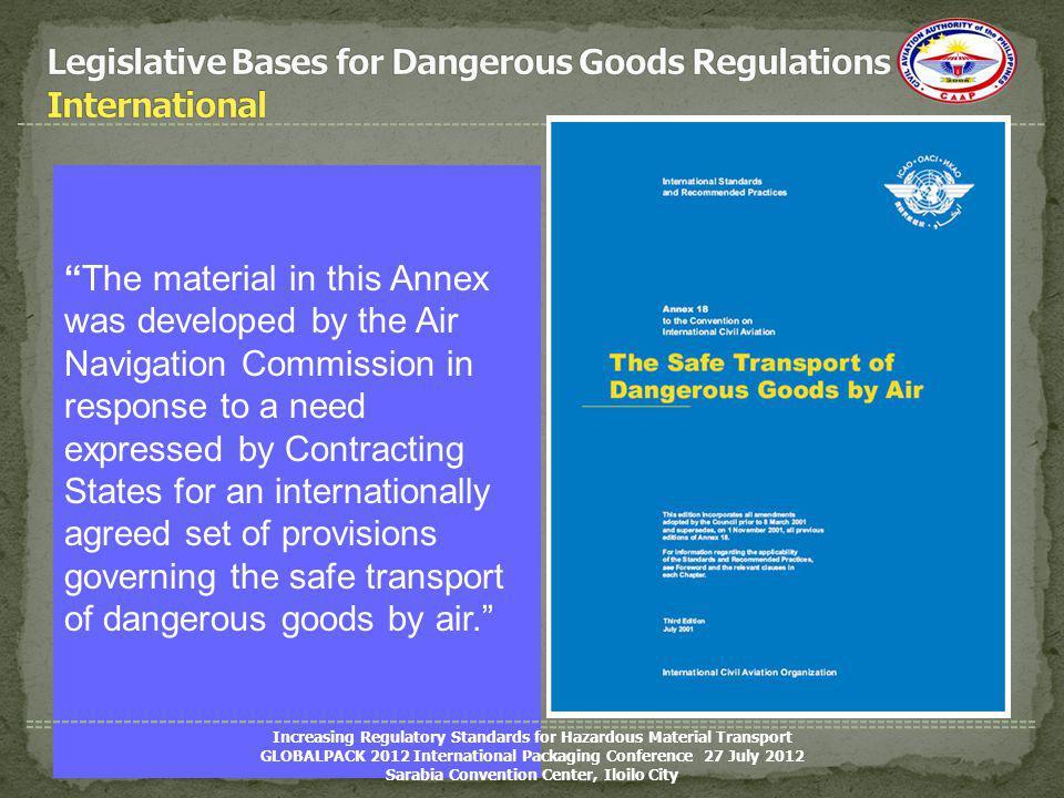 Legislative Bases for Dangerous Goods Regulations International