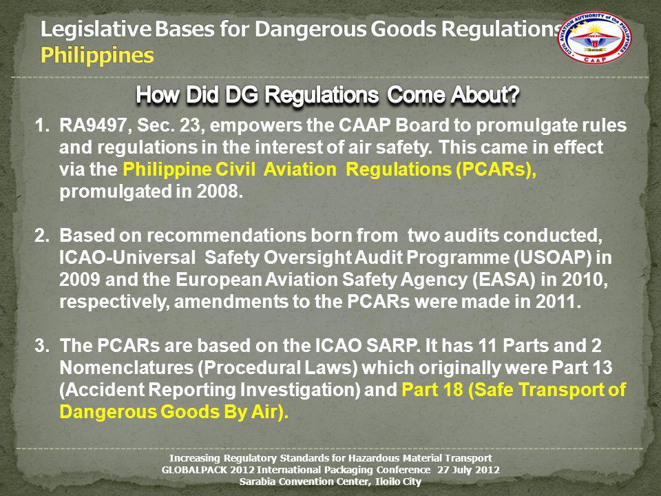 Legislative Bases for Dangerous Goods Regulations Philippines