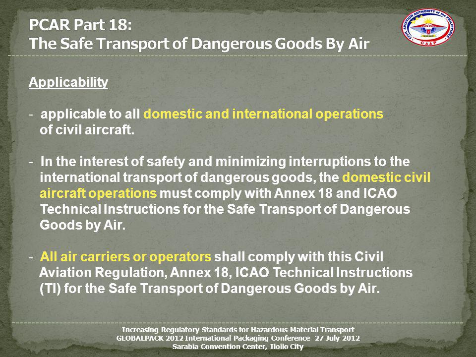 PCAR Part 18: The Safe Transport of Dangerous Goods By Air