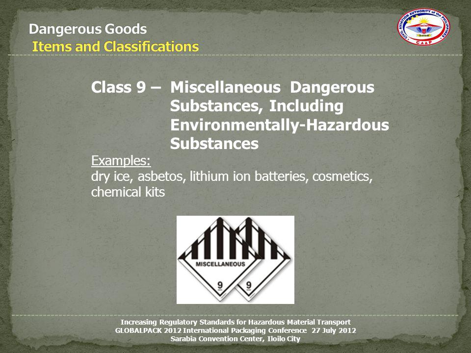 Dangerous Goods Items and Classifications