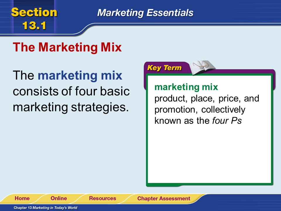 The marketing mix consists of four basic marketing strategies.