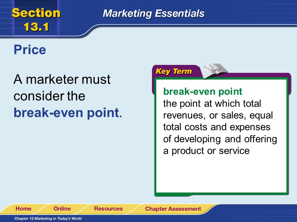 A marketer must consider the break-even point.