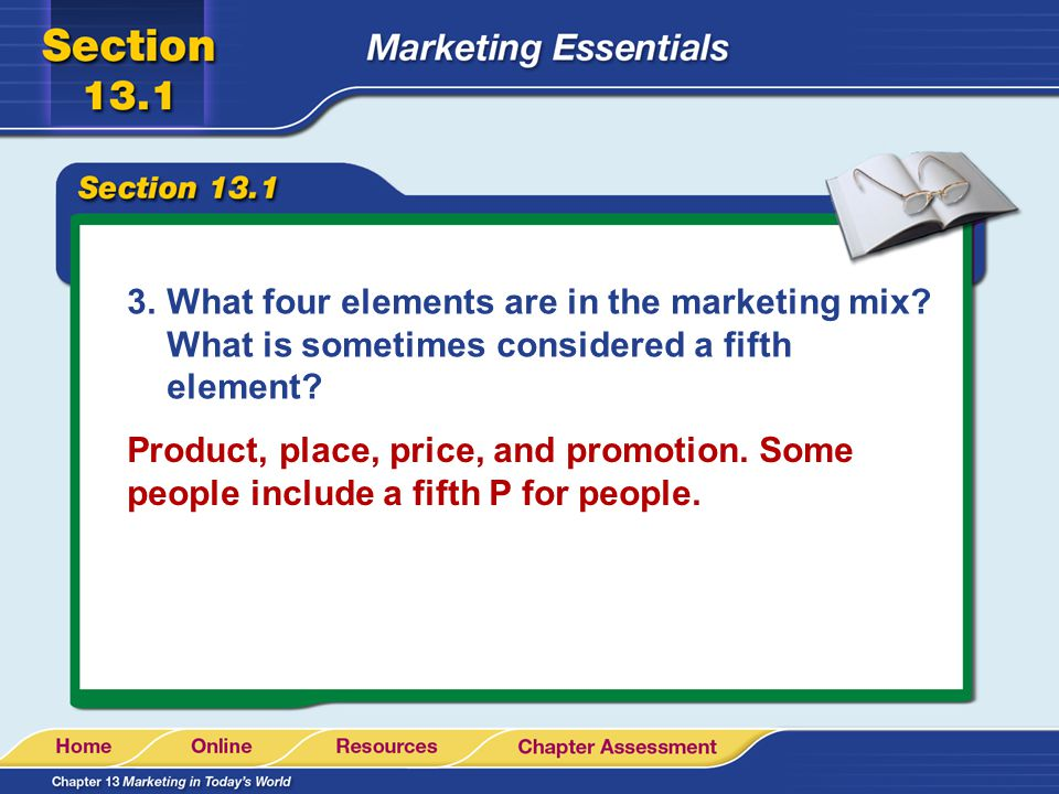 What four elements are in the marketing mix
