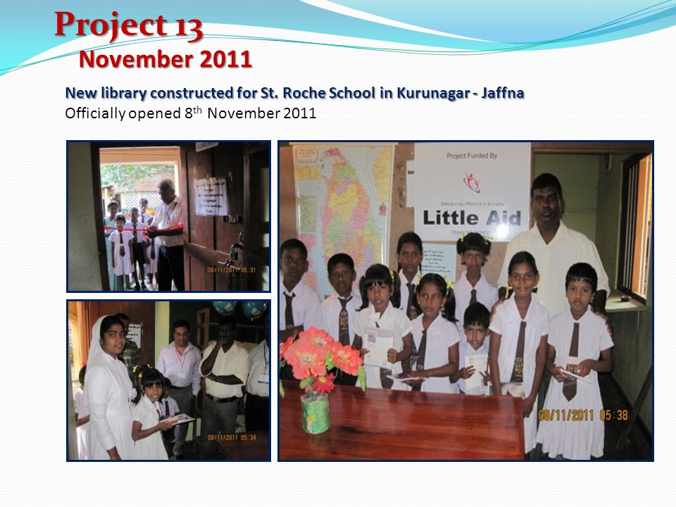 Project 13 November New library constructed for St.