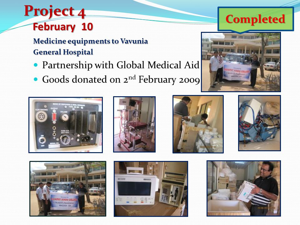 Project 4 Completed February 10 Partnership with Global Medical Aid