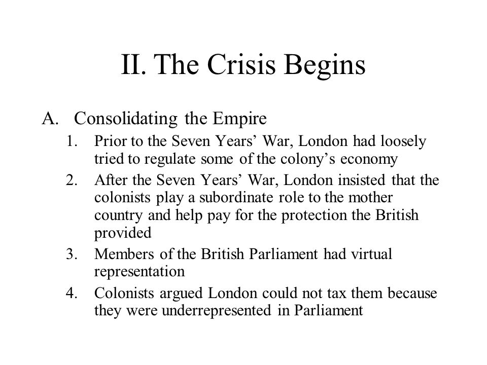 II. The Crisis Begins Consolidating the Empire