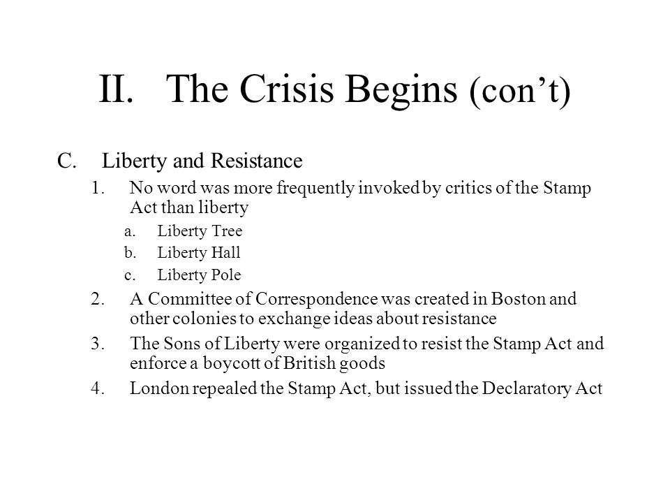 II. The Crisis Begins (con't)