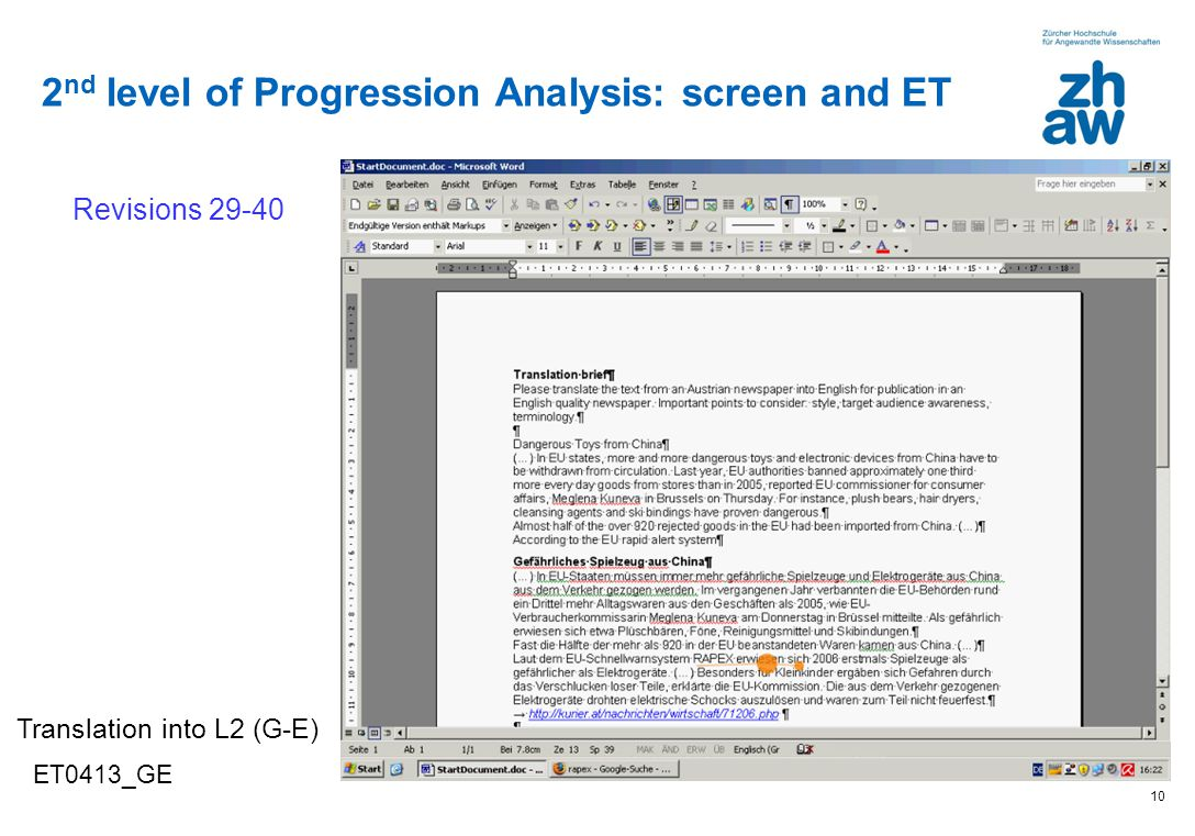 2nd level of Progression Analysis: screen and ET