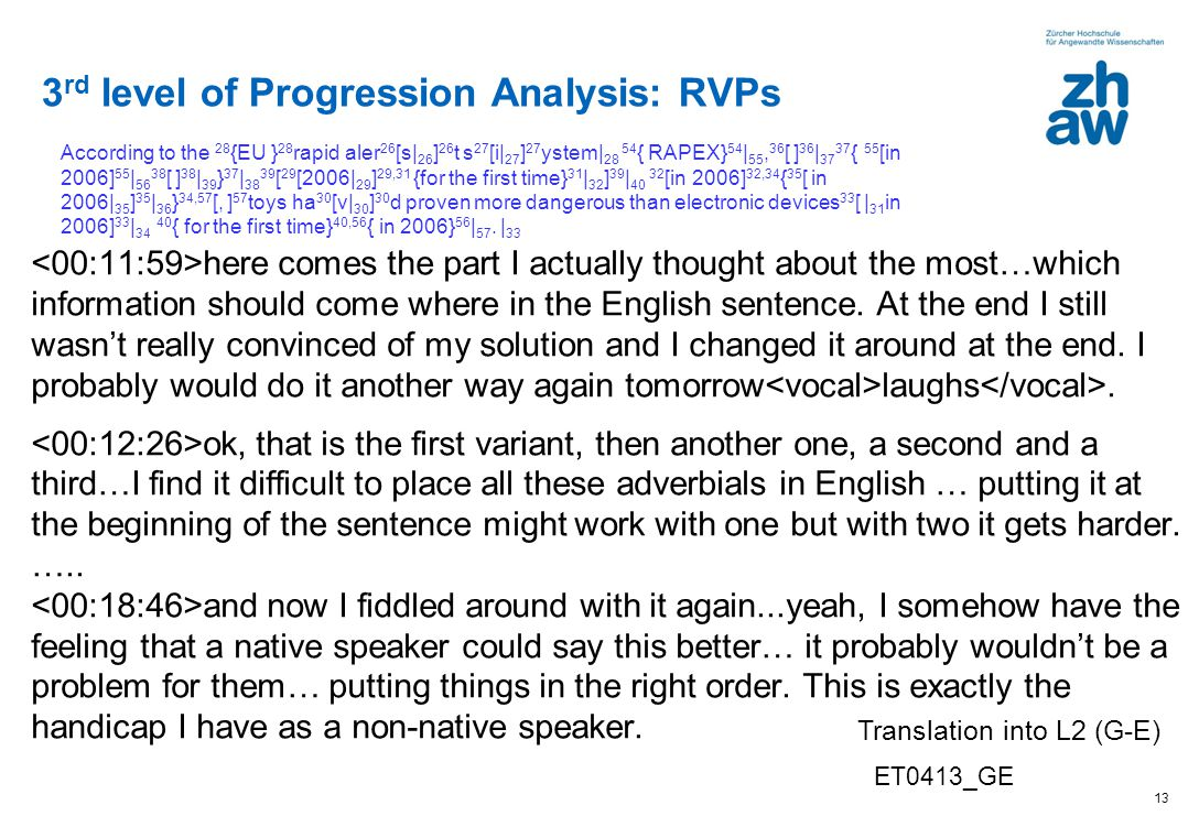 3rd level of Progression Analysis: RVPs