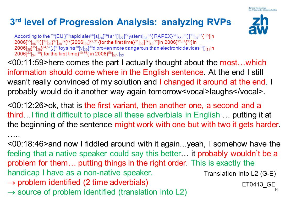 3rd level of Progression Analysis: analyzing RVPs