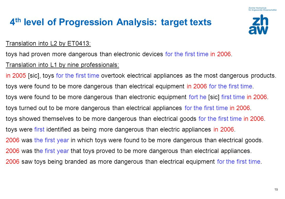 4th level of Progression Analysis: target texts